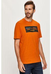Brązowy t-shirt Only & Sons casualowy, z aplikacjami