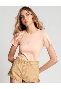 ONETEASPOON - Damski t-shirt nude Bower Bird. Kolor: beżowy. Wzór: nadruk