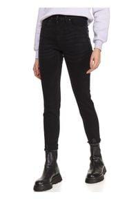 TOP SECRET - Jeansowe spodnie skinny. Okazja: na co dzień. Kolor: szary. Materiał: jeans. Sezon: wiosna. Styl: elegancki, casual