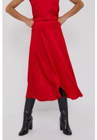 Beatrice B - Spódnica. Kolor: czerwony. Materiał: tkanina. Wzór: gładki