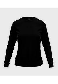 MegaKoszulki - Damska bluza taliowana (bez nadruku, gładka) - czarna. Kolor: czarny. Wzór: gładki