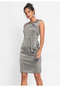 Szara sukienka bonprix ołówkowa, w koronkowe wzory, elegancka