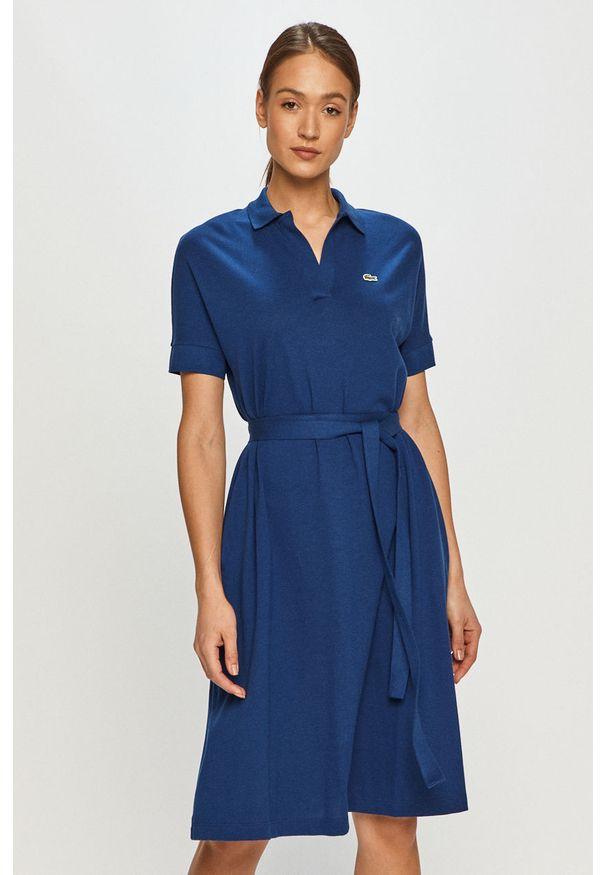 Niebieska sukienka Lacoste casualowa, gładkie, rozkloszowana, midi