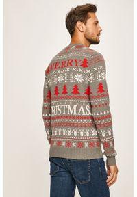 Szary sweter PRODUKT by Jack & Jones z okrągłym kołnierzem, casualowy, na co dzień