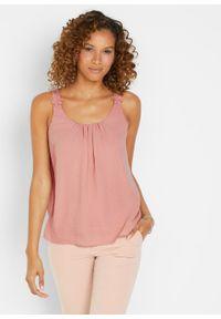 Bluzka bez rękawów bonprix stary jasnoróżowy. Kolor: różowy. Długość rękawa: bez rękawów. Sezon: lato. Styl: retro