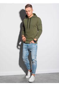 Ombre Clothing - Bluza męska z kapturem B1154 - khaki - XXL. Okazja: na co dzień. Typ kołnierza: kaptur. Kolor: brązowy. Materiał: bawełna, poliester. Styl: klasyczny, casual