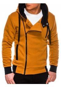 Ombre Clothing - Bluza męska rozpinana z kapturem B297 - ruda - XXL. Typ kołnierza: kaptur. Kolor: brązowy. Materiał: dzianina, bawełna, poliester