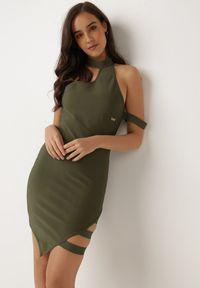 Born2be - Ciemnozielona Sukienka Lagulyn. Okazja: na imprezę. Kolor: zielony. Materiał: materiał. Długość rękawa: na ramiączkach. Typ sukienki: asymetryczne. Długość: mini
