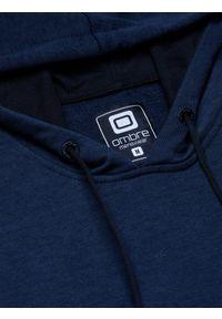 Niebieska bluza Ombre Clothing z kapturem, z aplikacjami