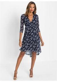Sukienka w kwiaty bonprix ciemnoniebiesko-biel wełny w kwiaty. Kolor: niebieski. Materiał: wełna. Wzór: kwiaty