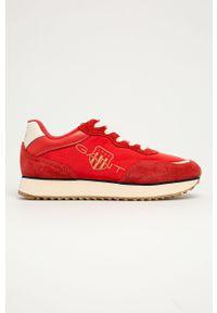 Czerwone buty sportowe GANT na sznurówki, z okrągłym noskiem, z cholewką