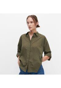 Reserved - Koszula ze strukturalnym wzorem - Zielony. Kolor: zielony