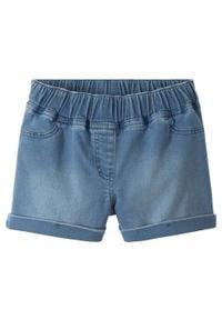 """Szorty dresowe dziewczęce w optyce dżinsowych bonprix niebieski """"bleached"""". Kolor: niebieski. Materiał: dresówka"""