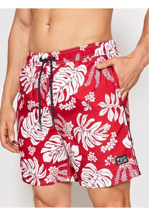 Superdry Szorty kąpielowe Campus Hawaiian M3010120A Czerwony Regular Fit. Kolor: czerwony