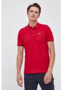 Aeronautica Militare - Polo bawełniane. Okazja: na co dzień. Typ kołnierza: polo. Kolor: czerwony. Materiał: bawełna. Długość: krótkie. Styl: casual