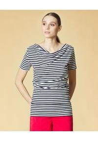 Manila Grace - MANILA GRACE - Bluzka w paski. Okazja: na co dzień, do pracy. Kolor: biały. Materiał: jeans, bawełna. Wzór: paski. Styl: elegancki, casual