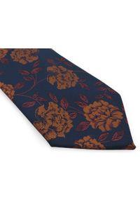Adam Collection - Granatowy krawat męski w miedziane kwiaty D308. Kolor: niebieski, brązowy, wielokolorowy. Materiał: tkanina, mikrofibra. Wzór: kwiaty