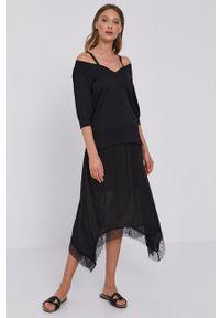TwinSet - Twinset - Sukienka. Okazja: na co dzień. Kolor: czarny. Długość rękawa: na ramiączkach. Typ sukienki: proste. Styl: casual