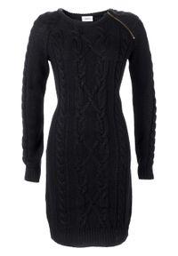 Sukienka dzianinowa z zamkiem bonprix czarny. Kolor: czarny. Materiał: dzianina, materiał, akryl. Długość rękawa: długi rękaw