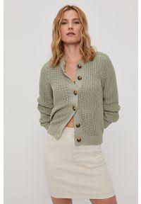 Pieces - Sweter. Okazja: na co dzień. Kolor: zielony. Materiał: bawełna. Długość rękawa: długi rękaw. Długość: długie. Styl: casual