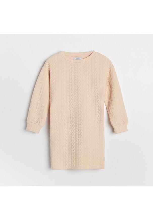 Reserved - Dzianinowa sukienka - Kremowy. Kolor: kremowy. Materiał: dzianina