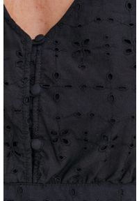 Answear Lab - Sukienka. Kolor: czarny. Materiał: tkanina. Długość rękawa: krótki rękaw. Wzór: haft. Styl: wakacyjny