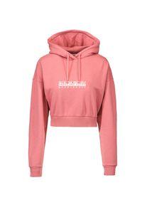 Bluza damska Napapijri B-BOX W CROPPED H 1. Typ kołnierza: kaptur. Kolor: różowy. Materiał: tkanina, prążkowany. Długość: krótkie