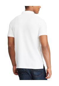 Ralph Lauren - RALPH LAUREN - Biała koszulka polo Custom Slim Fit. Typ kołnierza: polo. Kolor: biały. Materiał: bawełna. Wzór: haft #4