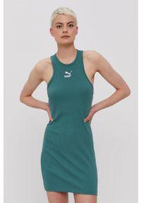 Puma - Sukienka. Okazja: na co dzień. Kolor: zielony. Długość rękawa: na ramiączkach. Typ sukienki: proste. Styl: casual