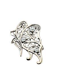 Polcarat Design - Broszka srebrna z cyrkoniami B 120. Materiał: srebrne. Kolor: srebrny. Wzór: aplikacja. Kamień szlachetny: cyrkonia