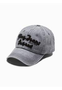 Ombre Clothing - Czapka męska z daszkiem H094 - szara - uniwersalny. Kolor: szary. Materiał: bawełna
