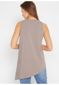 Długi top bawełniany z asymetryczną linią dołu bonprix beżowo-szary. Kolor: szary. Materiał: bawełna. Długość: długie