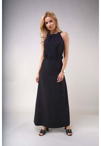 Czarna sukienka wizytowa Nommo elegancka, maxi, z dekoltem na plecach