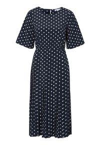 Happy Holly Sukienka w kropki Eloise ciemnoniebieski w kropki female niebieski/ze wzorem 40/42. Kolor: niebieski. Materiał: tkanina, materiał. Długość rękawa: krótki rękaw. Wzór: kropki. Typ sukienki: plisowane. Styl: elegancki