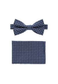Niebieska muszka Lancerto elegancka, paisley