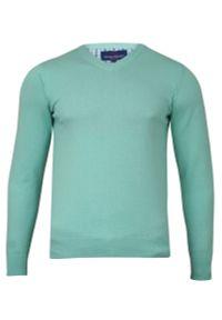Niebieski sweter Adriano Guinari do pracy, klasyczny, z dekoltem w serek