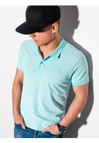 Miętowa koszulka polo Ombre Clothing z haftami, klasyczna