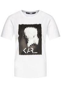 Biały t-shirt Karl Lagerfeld z dekoltem karo, z nadrukiem