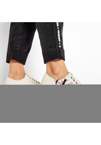 Beżowe półbuty Calvin Klein Jeans z aplikacjami, z cholewką