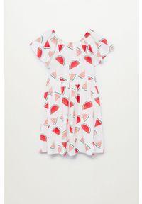 Biała sukienka Mango Kids z krótkim rękawem, rozkloszowana