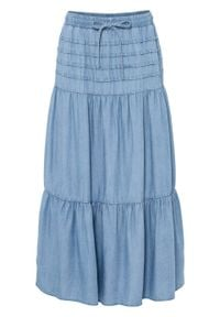 "Spódnica maxi TENCEL™ Lyocell bonprix niebieski ""bleached"". Kolor: niebieski. Materiał: lyocell"