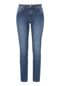 Niebieskie jeansy Truly mine z aplikacjami, z podwyższonym stanem
