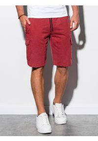 Czerwone szorty Ombre Clothing z aplikacjami, krótkie