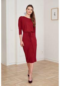 Marie Zélie - Sukienka Elwina czerwień wina. Okazja: na co dzień. Kolor: czerwony. Materiał: wiskoza, dzianina, materiał, elastan, tkanina, guma. Długość rękawa: krótki rękaw. Typ sukienki: proste. Styl: casual