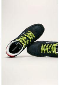 Niebieskie sneakersy ROBERTO CAVALLI SPORT z cholewką, z okrągłym noskiem, na sznurówki