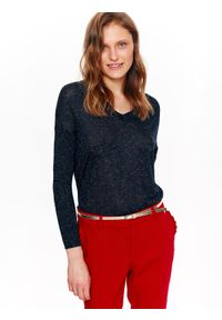 Niebieski sweter TOP SECRET z krótkim rękawem, w kolorowe wzory, na wiosnę, casualowy