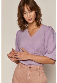 Fioletowa bluzka medicine gładkie, casualowa, na co dzień