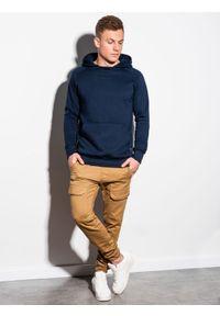 Ombre Clothing - Bluza męska z kapturem B1085 - granatowa - XXL. Typ kołnierza: kaptur. Kolor: niebieski. Materiał: poliester, bawełna #6