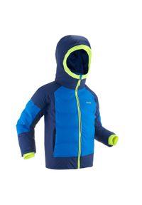WEDZE - Kurtka narciarska WARM 580 dla dzieci. Kolor: niebieski. Materiał: materiał. Sezon: zima. Sport: narciarstwo
