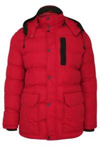 Czerwona kurtka Gustaff na zimę, z kapturem
